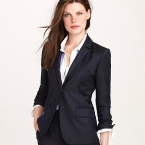 JCrew super 120s navy pinstripe wool suit 2P